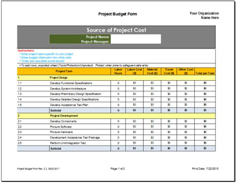 project budgeting excel sheet format project budget planner template budget templates