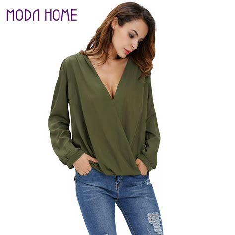 Blouse Korean V korean chiffon blouses v neck sleeve