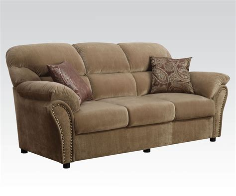 Patricia Light Brown Velvet Sofa With Pillows Pillows For Brown Sofa