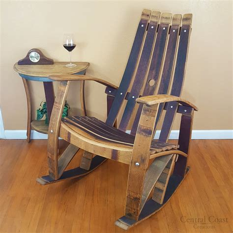 wine barrel rocking chair australia wine barrel stave rocking chair home rustic furniture