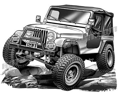 jeep cj 4x4 off road clipart, high quality