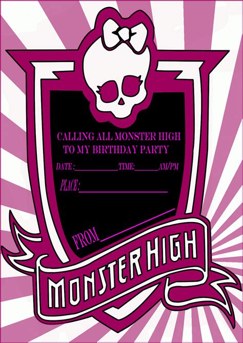 High Birthday Card Monster High Party Invitation Card Learn To Coloring