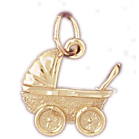 14k gold baby charm pendant perambulator 5929 golden