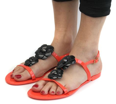 Slingbags Jelly Flower coral jelly open toe flower womens slingback sandals all