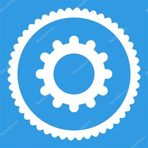 flat white color gear flat white color round st icon stock vector