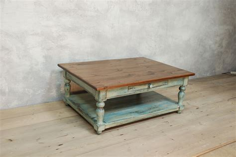 Distressed Coffee Table In Blue And White Distressed White Coffee Table For Sale