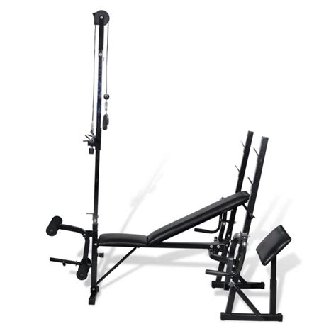 small gym bench adjustable exercise bench w pull down leg curl buy