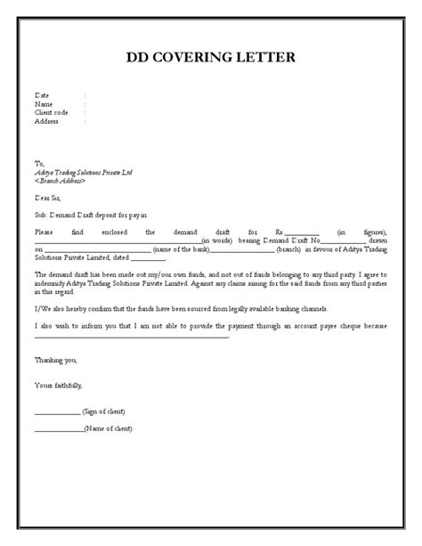 Request Letter Format For Demand Draft Dd Covering Letter