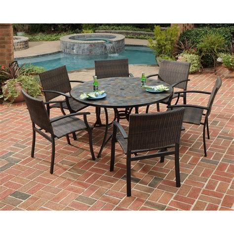 Best Patio Dining Set Home Styles Harbor 51 In 7 Slate Tile Top Patio Dining Set With Newport