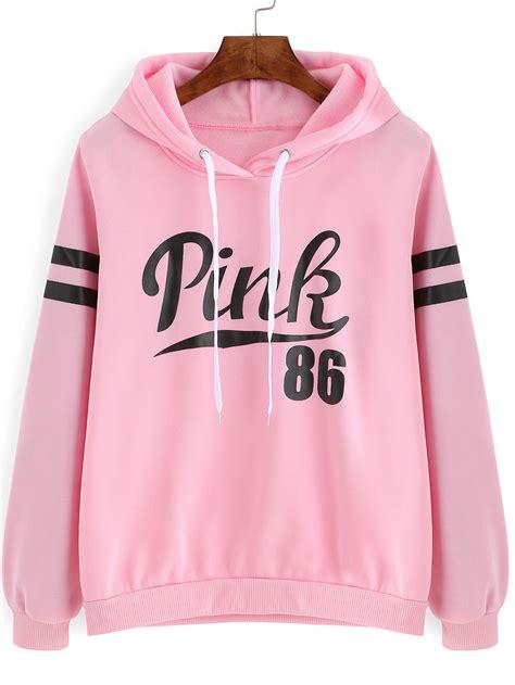Lettering Drawstring Hoodie pink drawstring hooded letters print sweatshirtfor romwe