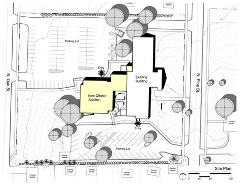 architectural site plan congregational church united church of sanctuary constantine george pappas aia