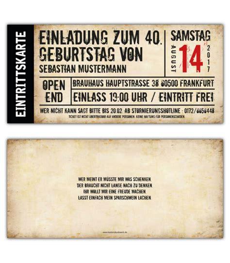 Hochzeitseinladung Eintrittskarte by Einladung Zum Geburtstag Als Eintrittskarte Ticket