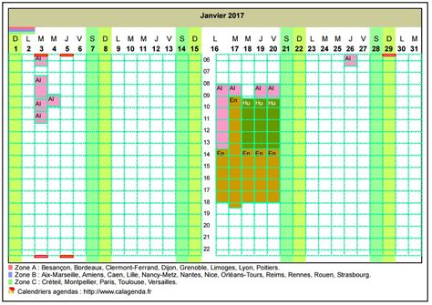 Grille Calendrier 2017 Calendrier 2017 Planning Horizontal Mensuel Avec La Grille