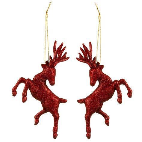 hanging deer christmas lights set of two hanging red glitter reindeer christmas