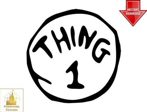 thing 1 and thing 2 printable template dr suess thing 1 and thing 2 logo t shirt decal by pennyring