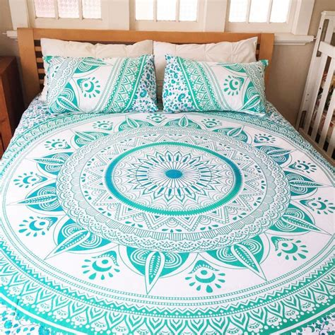 sea green white ombre mandala tapastry duvet  pillow