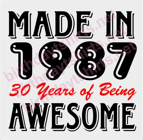 haitstyle for someone turning 30 made in 1987 30 years of being awesome birthday shirts