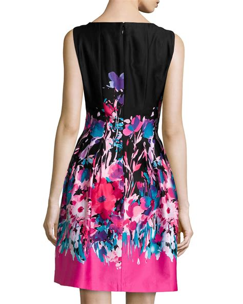 Floral Pleated A Line Dress lyst chetta b sleeveless floral pleated a line dress