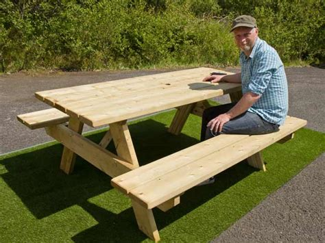 picnic table with attached benches wooden garden patio furniture oblong picnic table 6 seater