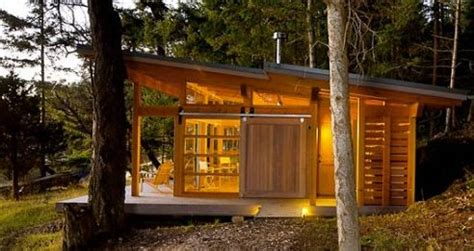 small slanted roof modern cabin tiny house loft cabin