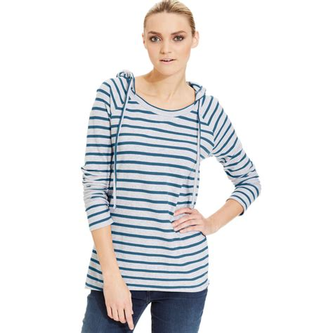 Dkny Dk01 Sea Blue A dkny striped hooded tunic in blue sea blue lyst