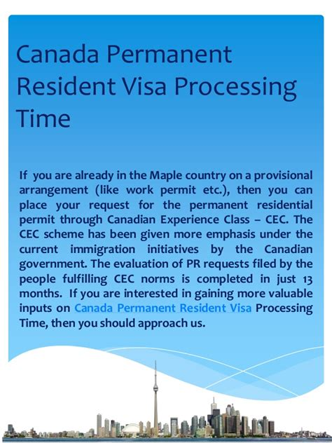 current perm processing times canada permanent resident visa processing time