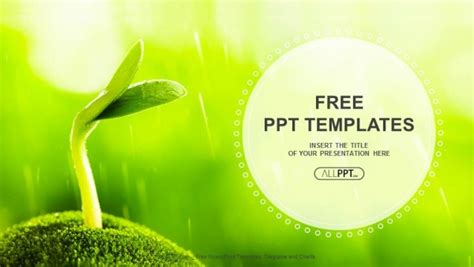 powerpoint themes green free download young sprout in springtime nature powerpoint templates