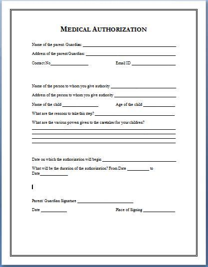 Medical Authorization Form Template To Copy Pinterest Medical And Babies Medication Authorization Form Template