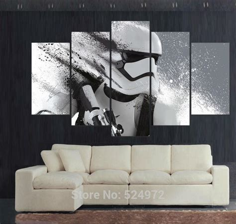 star wars living room 5 panel modern painting on canvas home decor wall art
