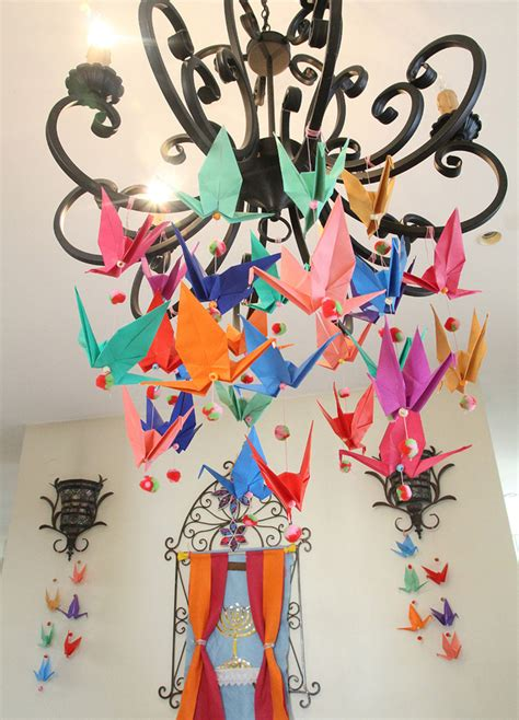 Origami Birthday Decorations - origami crane mobile with pom poms anytime