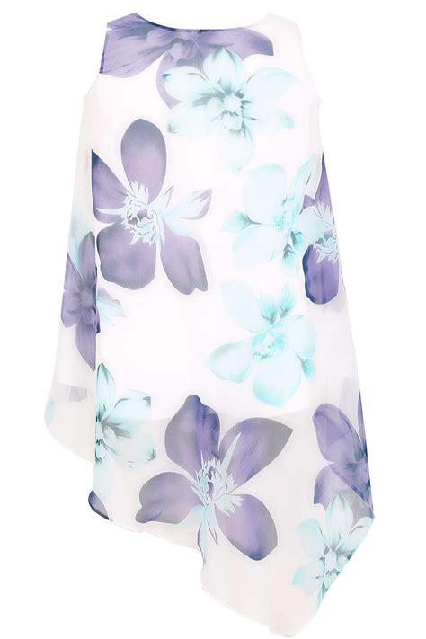 Floral Sleeveless Chiffon Top white mint green blue floral print sleeveless chiffon