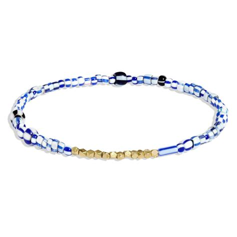 blue beaded bracelet s blue mix beaded bracelet with yellow gold allison