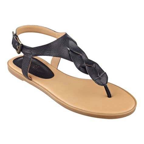 nine west sandals nine west kearin sandals in black black leather lyst