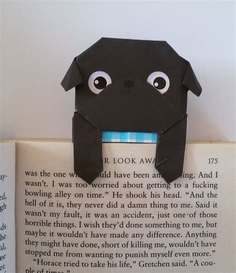 How To Make An Origami Pug - paper bookmark unique origami pug bookmark black