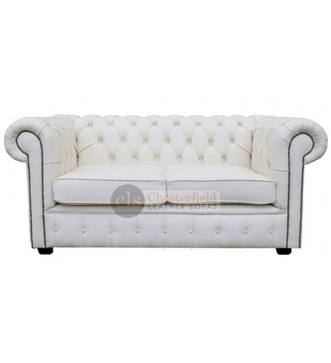 Chesterfield White Leather Sofa Chesterfield Genuine Leather White Two Seater Sofa