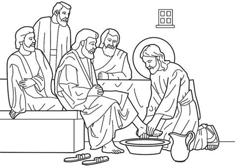 jesus washes the disciples feet coloring page jesus