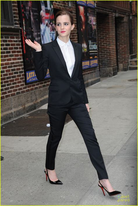 emma watson in suit emma watson suits up for late show with david letterman