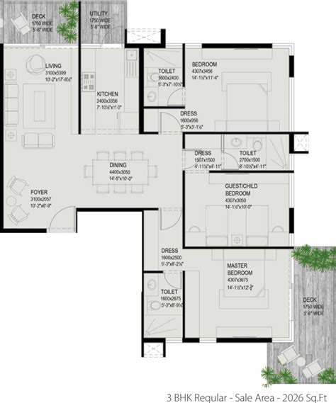 tree floor plan 2026 sq ft 3 bhk 3t apartment for sale in ceear realty the