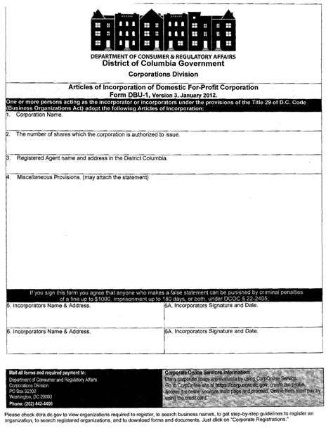 Washington Dc Incorporation Registered Agent Incparadise Iowa Llc Certificate Of Organization Template