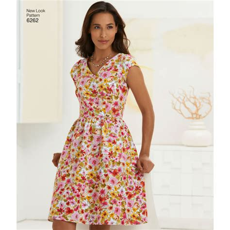 new look 6123 misses dress pattern for misses dress with neckline variations