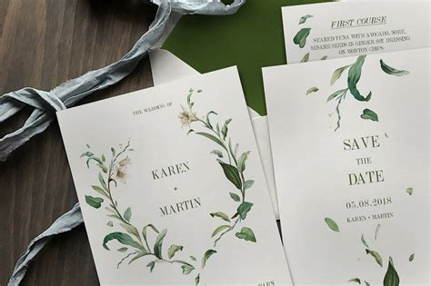 Green Theme Wedding Invitations by Green Foliage Wedding Suite Invitation Templates