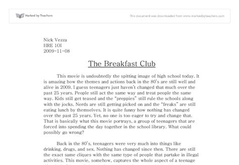 The Breakfast Club Essay by The Breakfast Club A Level Marked By Teachers