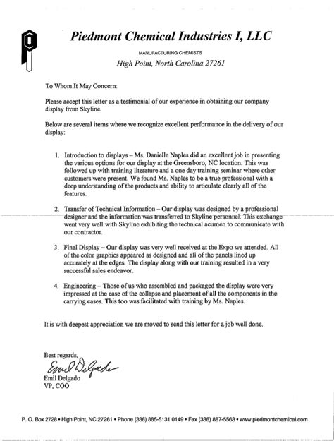 Endorsement Letter Of Items Client Letters Of Recommendation