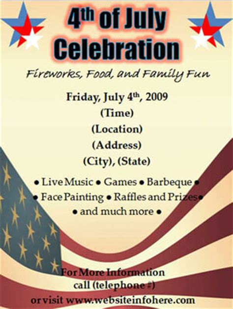4th Of July Flyers Fourth Of July Celebrations In July Flyer Template