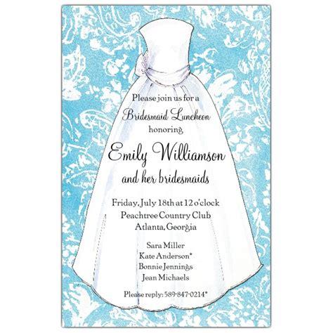 Turquoise Damask Bridesmaids Luncheon Invitations Paperstyle Bridesmaid Luncheon Invitations Template