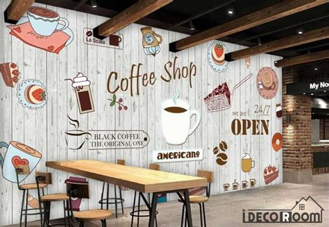 coffee shop wallpaper murals white wooden wall graphic design coffee shop restaurant