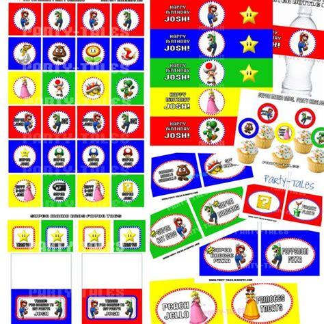 printable nes labels super mario bros collection wii party circles cupcake