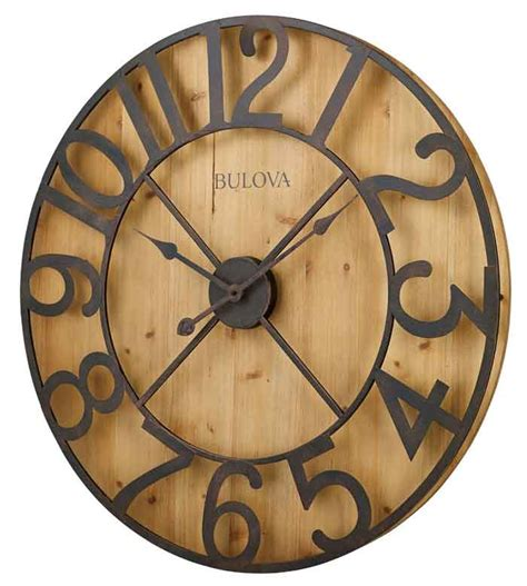 large wall clock 24in cambridge tan or linen by theclockhouse huge wall clocks bulova c4814ap barnboard large wall clock