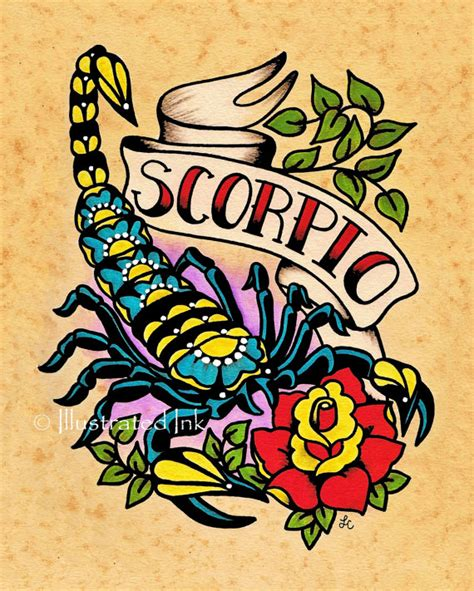 zodiac old tattoo art scorpio scorpion astrology print