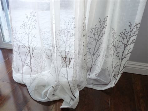 printed voile curtains off white sheer curtain voile panel with printed tree pattern